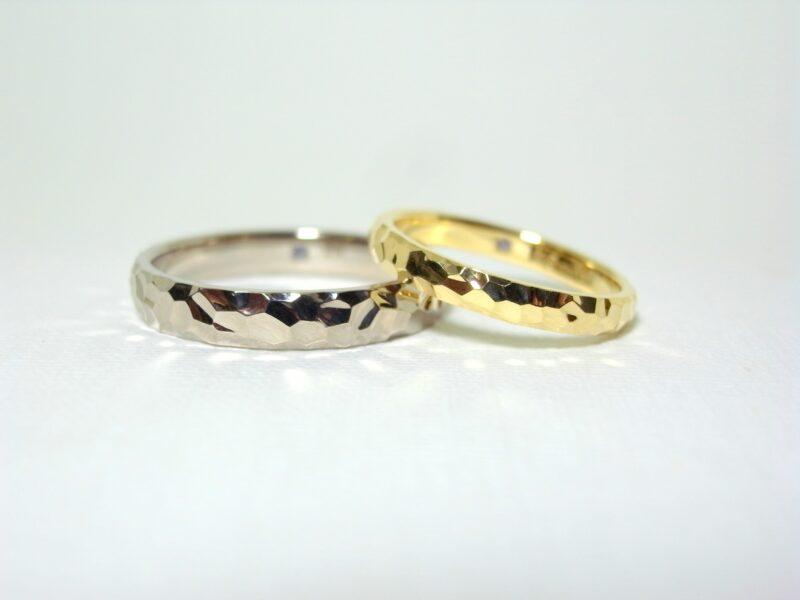 プリジュ マリッジリング 結婚指輪 槌目模様 ハンマー仕上 ホワイトゴールド プラチナ イエローゴールド コンビリング オーダーリング オリジナルリング