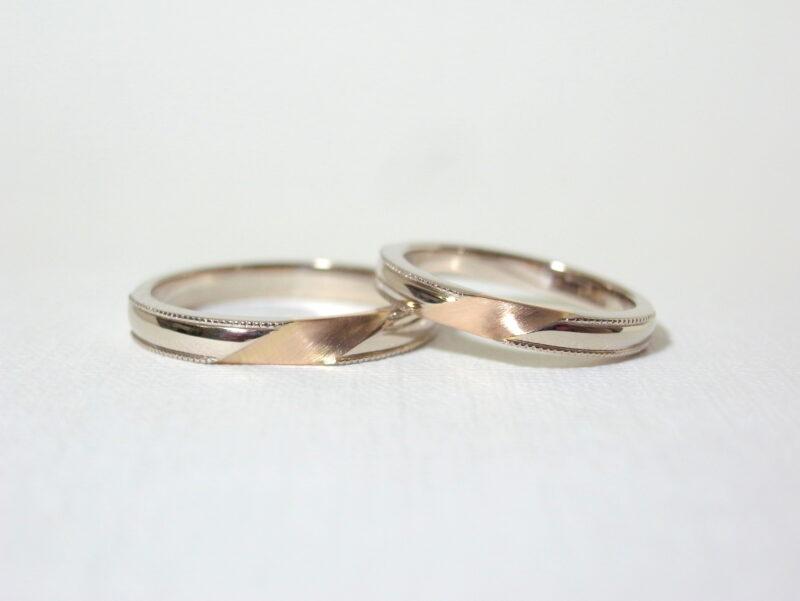 プリジュ マリッジリング 結婚指輪 ミル打ち ヘアライン仕上 ホワイトゴールド ピンクーゴールド コンビリング オーダーリング オリジナルリング
