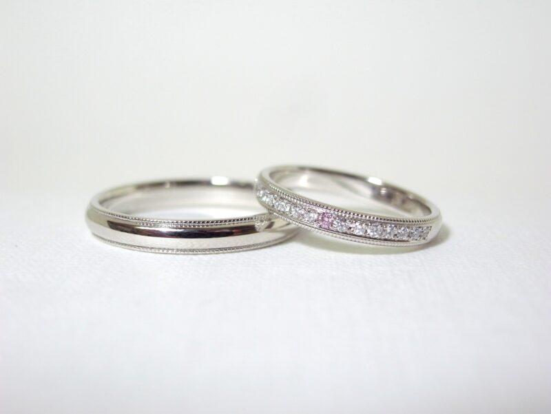 プリジュ マリッジリング 結婚指輪 雪と桜 ミル打ち ピンクダイヤ オーダーリング オリジナルリング ハーフエタニティリング